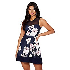 Quiz - Navy and pink floral skater dress