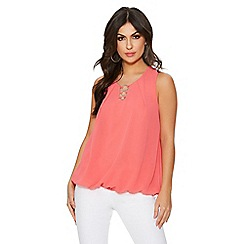 Quiz - Coral chiffon sleeveless bubble hem top