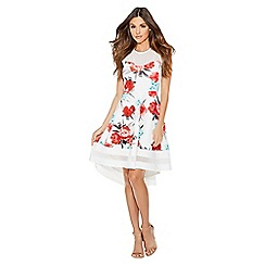 Quiz - Cream coral and aqua floral dip hem dress