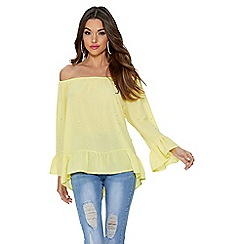 Quiz - Lemon crepe bardot frill top