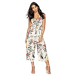 Quiz - White and orange floral wrap jumpsuit