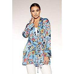 Quiz - Blue satin floral print kimono jacket