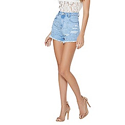 Quiz - Light blue denim pearl embellished shorts