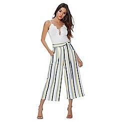 Quiz - Cream lemon and blue stripe culotte trousers
