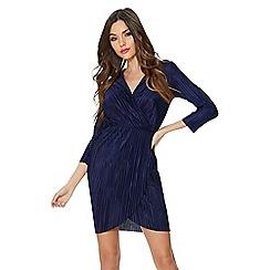 Quiz - Navy pleated wrap short dress