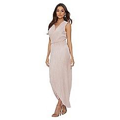 Quiz - Pink pleated wrap sleeveless maxi dress