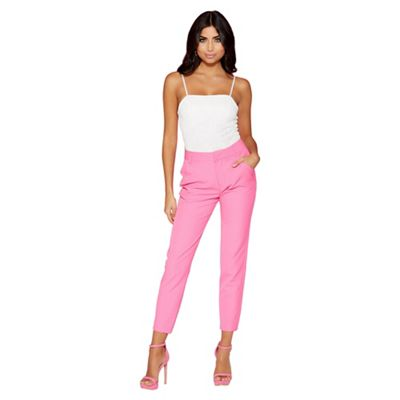 Quiz   Hot Pink Tapered Pocket Detail Trousers by Quiz