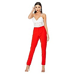 Quiz - Red tapered pocket detail trousers