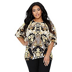 Quiz - Curve black and gold scarf print top