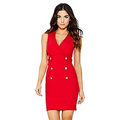 Quiz - Red crepe military button dress