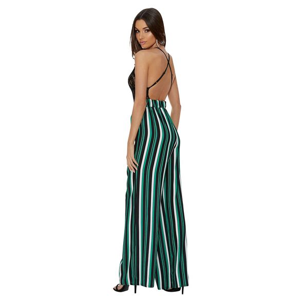 stripe Quiz and Green palazzo black trousers gwzaUqw