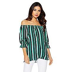 Quiz - Green and black stripe bardot top