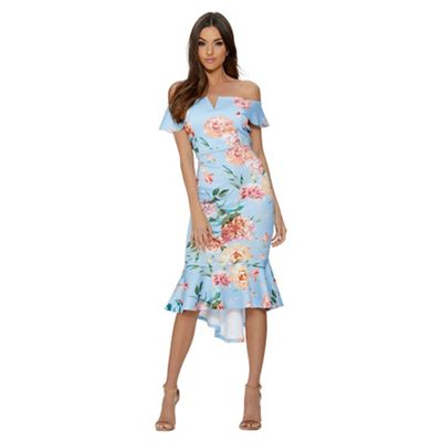Quiz   Blue And Pink Floral Dip Hem Dress by Quiz