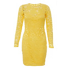 Quiz - Yellow lace bodycon dress