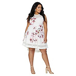 Quiz - Curve cream and pink floral mesh dip hem dress