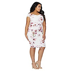 Quiz - Curve cream and pink floral dress