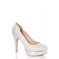 Quiz - Silver glitter high heel court shoes