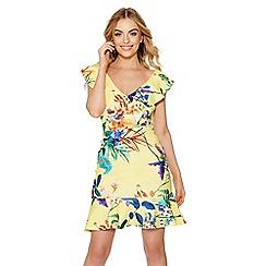 Quiz - Yellow floral print frill dress