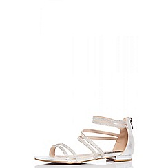 Quiz - Silver diamante strap flat sandals