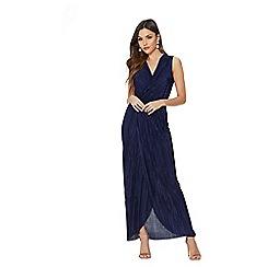 Quiz - Navy pleated wrap sleeveless maxi dress