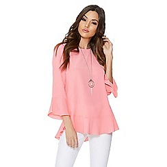 Quiz - Pink bubble crepe frill sleeveless top