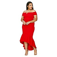 Quiz - Curve red crepe bardot dip hem midi dress