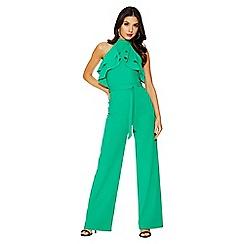 Quiz - Green halterneck crepe frill jumpsuit