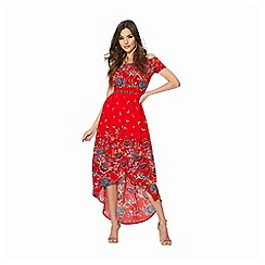 Quiz - Red floral print wrap maxi dress