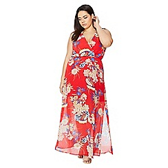 Quiz - Curve red floral oriental print dress