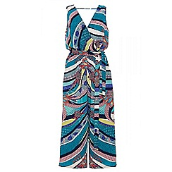Quiz - Green and blue abstract print jumpsuit