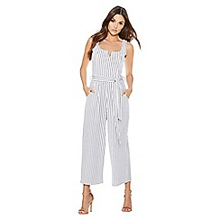 Quiz - White and navy stripe tie belt jumpsuit