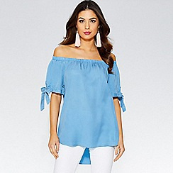 Quiz - Blue bardot tie sleeve top
