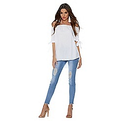 Quiz - White bardot tie sleeve top