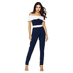 Quiz - Navy and cream bardot jumpsuit