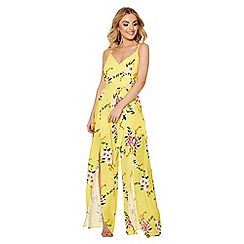 Quiz - Yellow and pink floral split leg jumpsuit