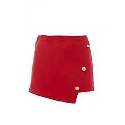 Quiz - Red crop gold button skorts