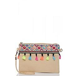 Quiz - Multicoloured tassel clutch bag