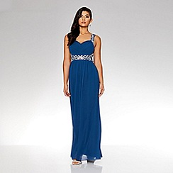 Quiz - Midnight blue chiffon embellished maxi dress