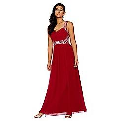 Quiz - Raspberry chiffon embellished maxi dress