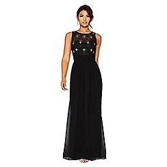 Quiz - Black pearl detail high neck maxi dress