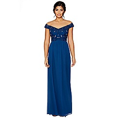 Quiz - Midnight blue bardot embellished maxi dress
