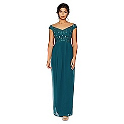 Quiz - Green bardot embellished maxi dress