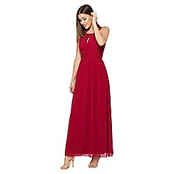 Quiz - Raspberry Embroidered High Neck Maxi Dress
