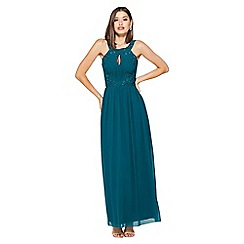 Quiz - Teal Green Embroidered High Neck Maxi Dress
