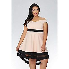 Quiz - Curve nude and black bardot dress