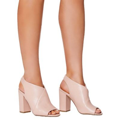 Quiz - Pink PU open back shoe boots