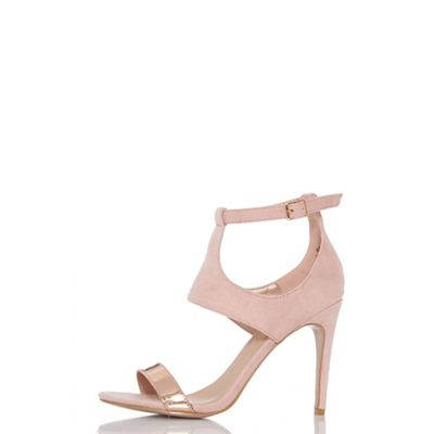 Quiz - Pink PU metallic strap heel sandals