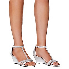 Quiz - Silver diamante strap wedges