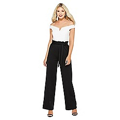 Quiz - Cream and black paper bag waist jumpsuit