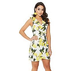 Quiz - White and yellow lemon print dress